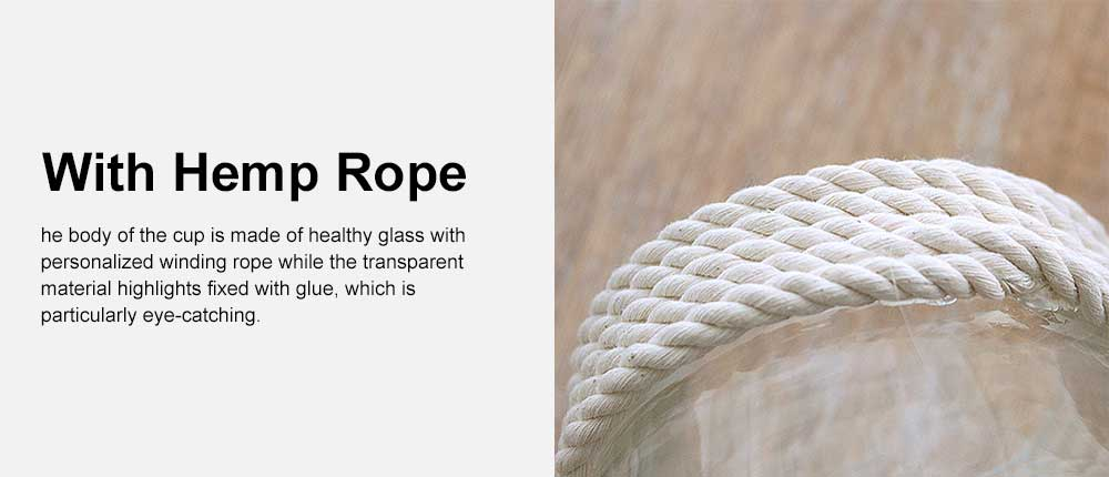 Transparent Glass Vase With Hemp Rope, Household Furnishings Decorative Vase 2