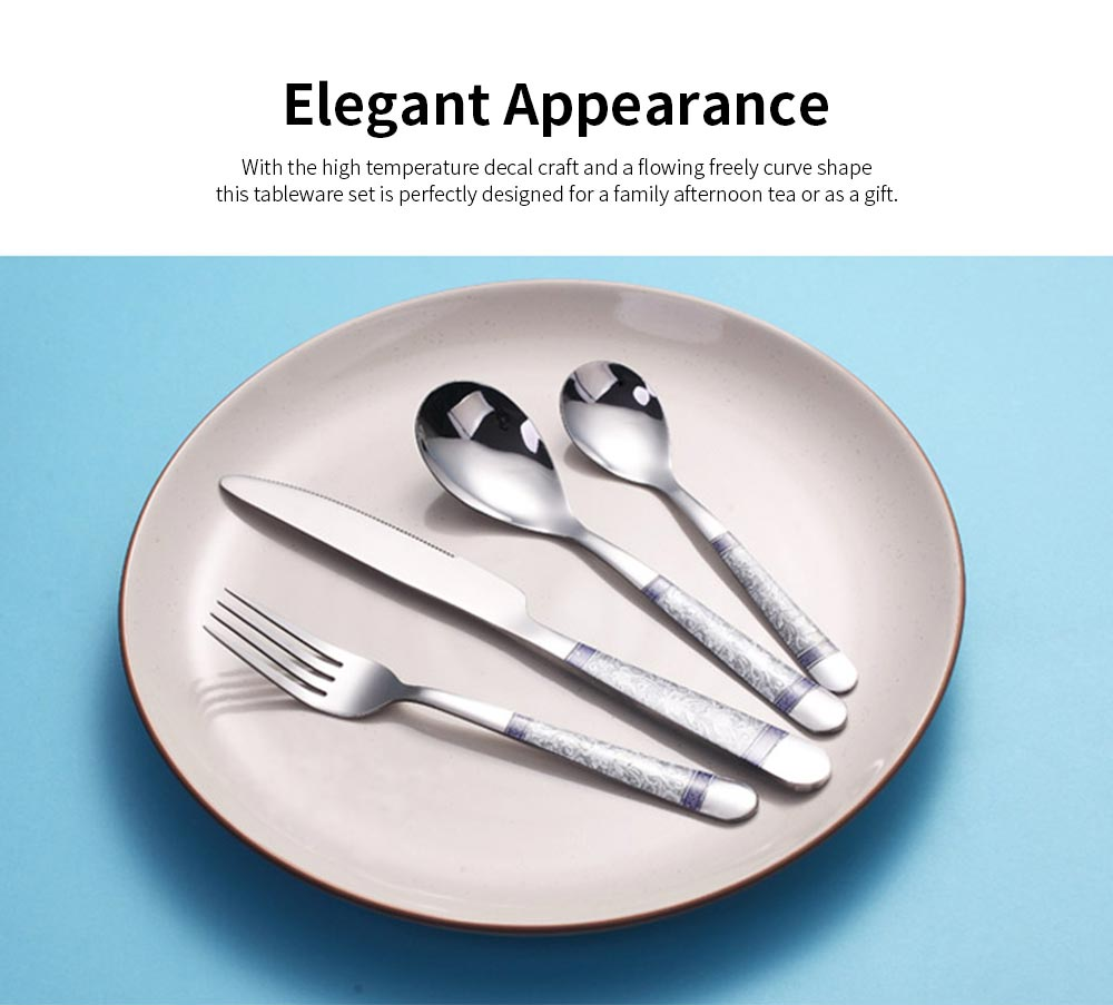 4PCS Stainless Steel Tableware Set, Thicken Western Cuisine Stake Knife, Fork and Spoons Set with High Temperature Decal Craft 1