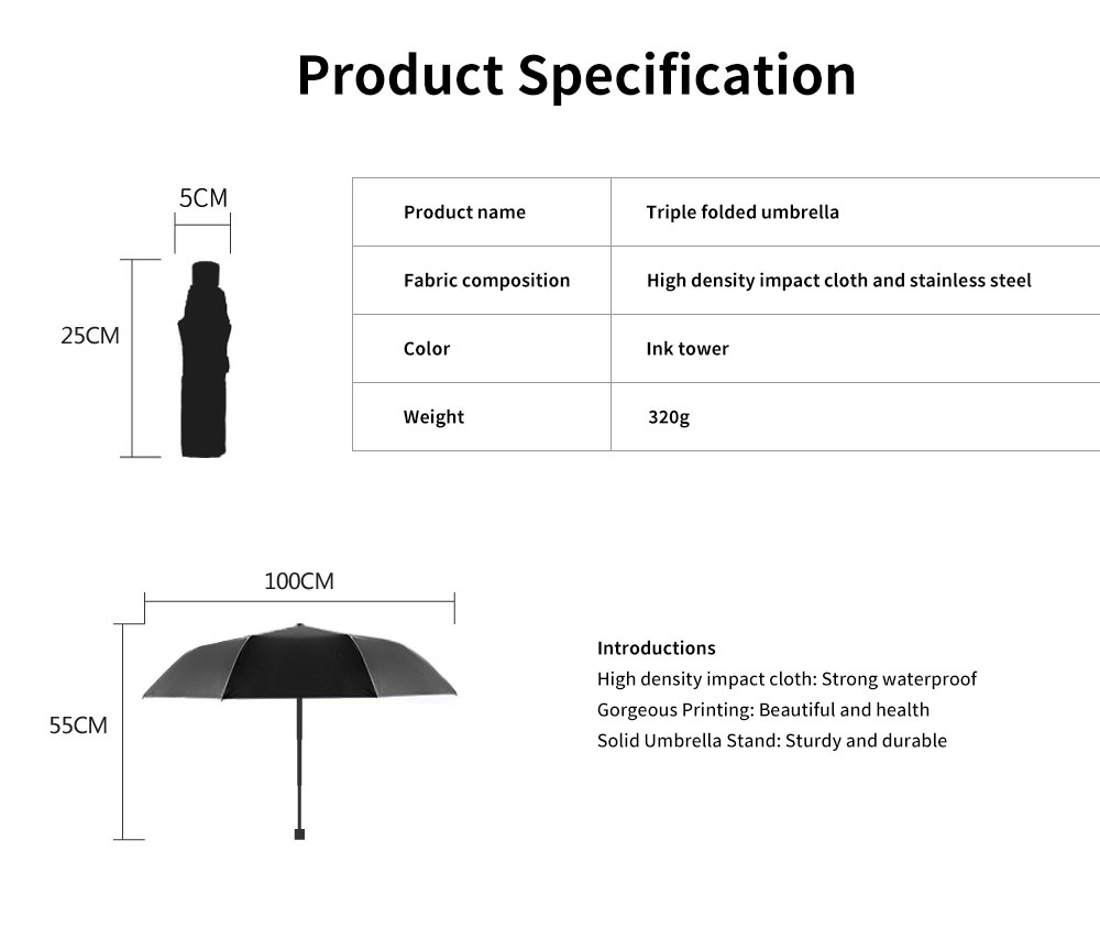 Eiffel Tower Umbrella, Triple Folded Umbrella With Sturdy Stainless Steel Rib and High Density Impact Cloth 6