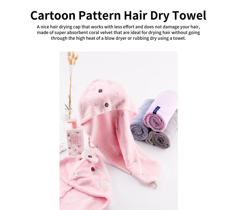 Cute Cartoon Pattern Hair Towel Cap, Ultra Absorbent Coral Velvet Hair Dry Towel  for Girls, Women, Kids 0