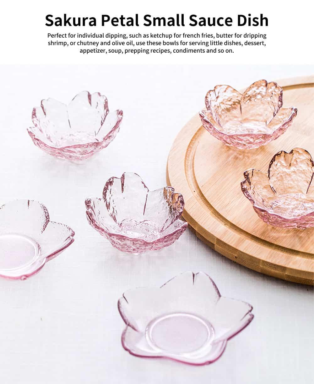 Japanese Sakura Petal Sauce Dish, Glass Pink Seasoning Plate for Kitchen, Restaurant 0