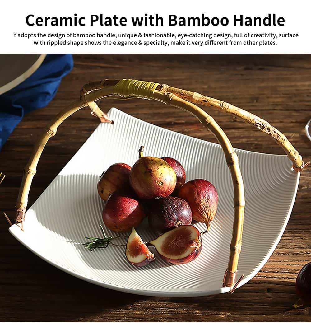 Stylish Ceramic Plates with Bamboo Handle, Quadrilateral Tableware for Salad, Fruit 0