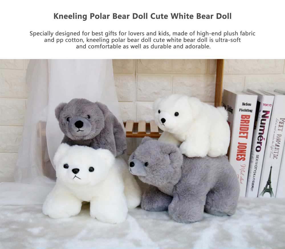 Polar Bear Stuffed Toy, Cute White Bear Doll Grab Doll Plush Toys for Children 0