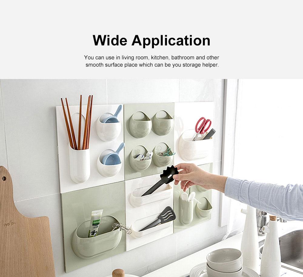 Plastic Self-adhesive Hanging Rack, Bedroom Wall Paste Storage Organizer Shelves 3