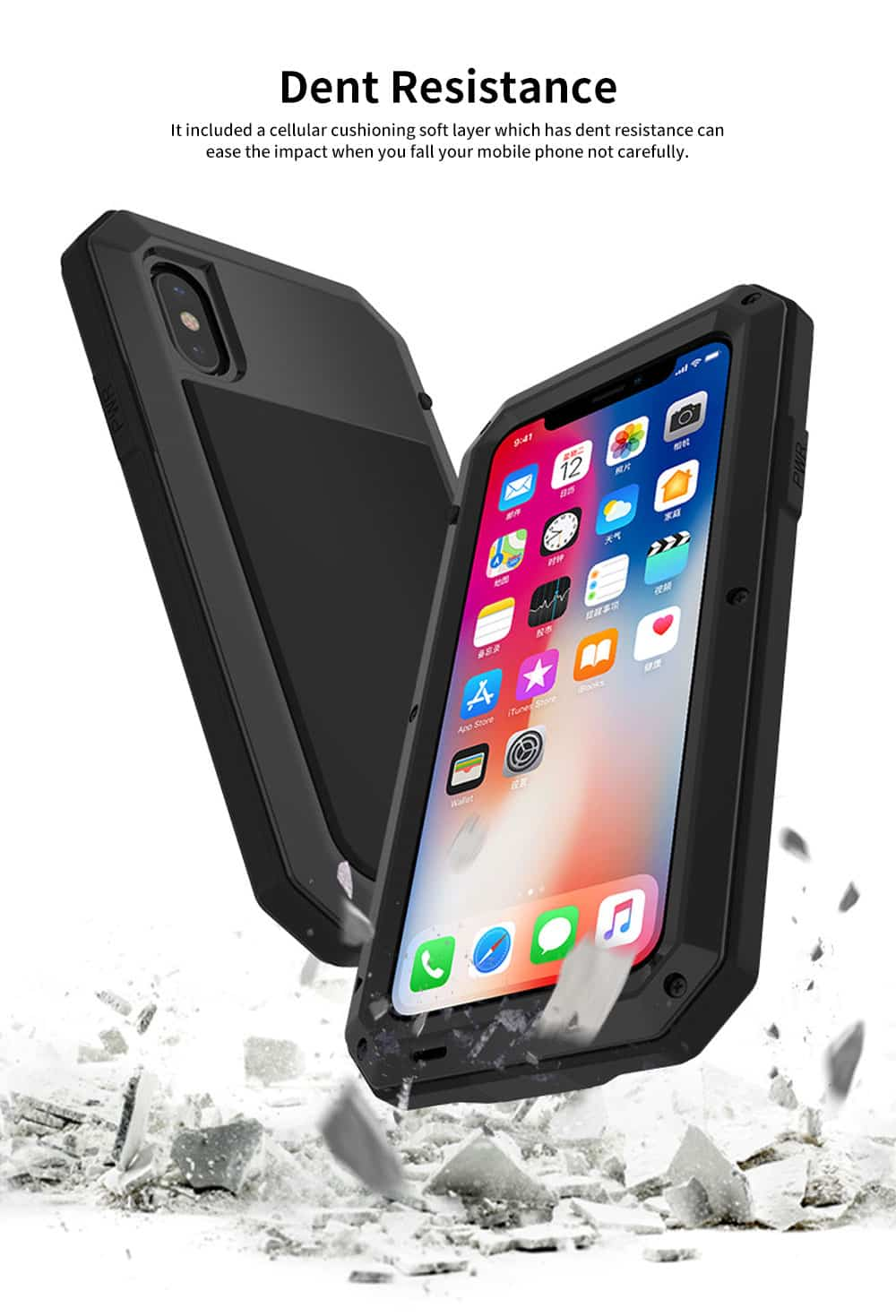 Alloy Phone Case With Cushioning Soft Layer And Carbon Fiber Tempered Glass For IPhone 2