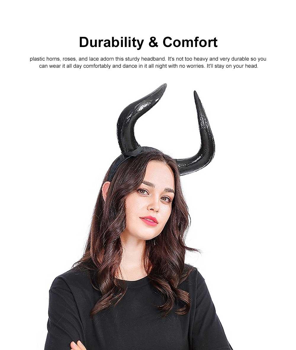 Black Horn Headband, Women Imitation Headband for Costume Accessory 3