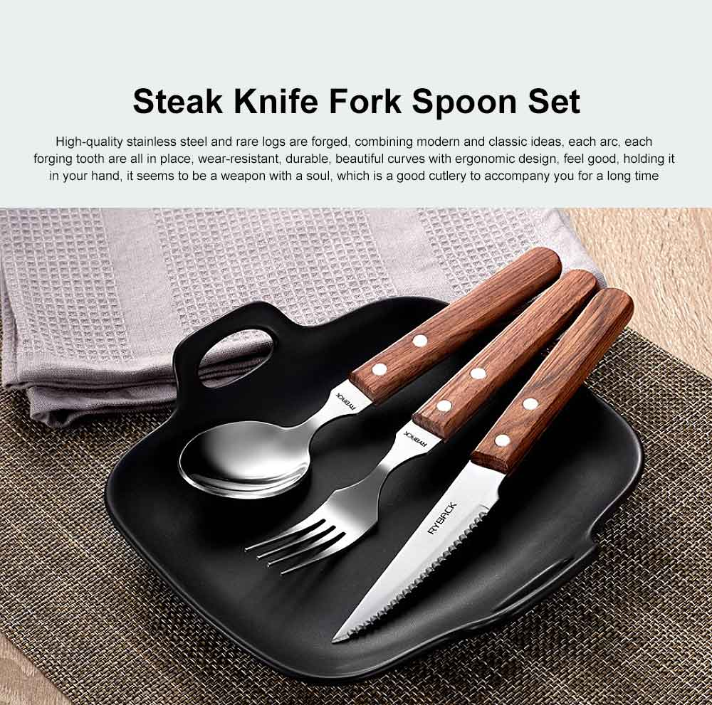 Steak Knife and Fork Set with Wooden Handle, 3PCS Stainless Steel Cutlery, Western Knife and Fork Spoon 0