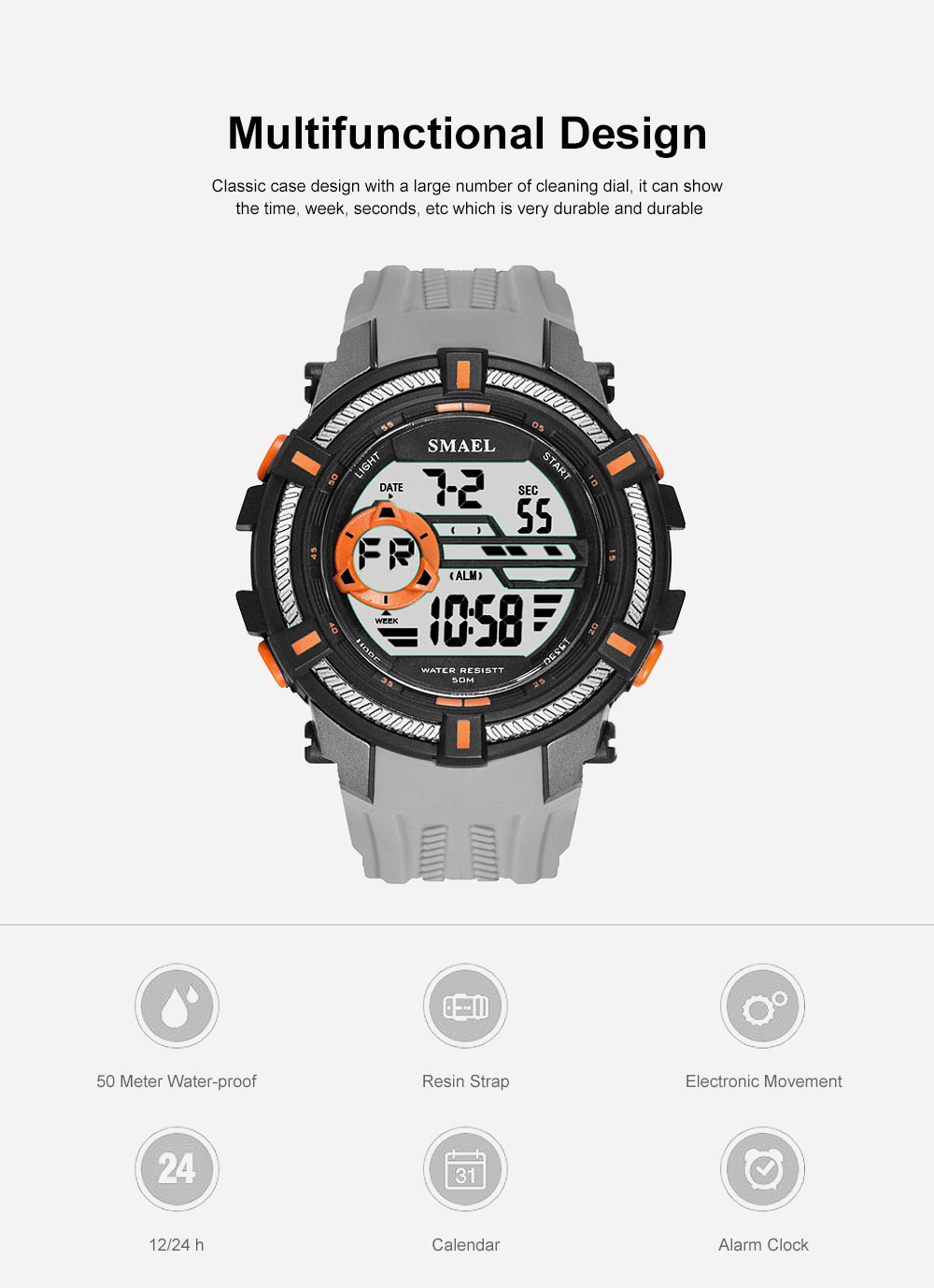 Multifunction Smart Electronic Watch, Luminous Mode, Water-proof, with Resin Strap 5