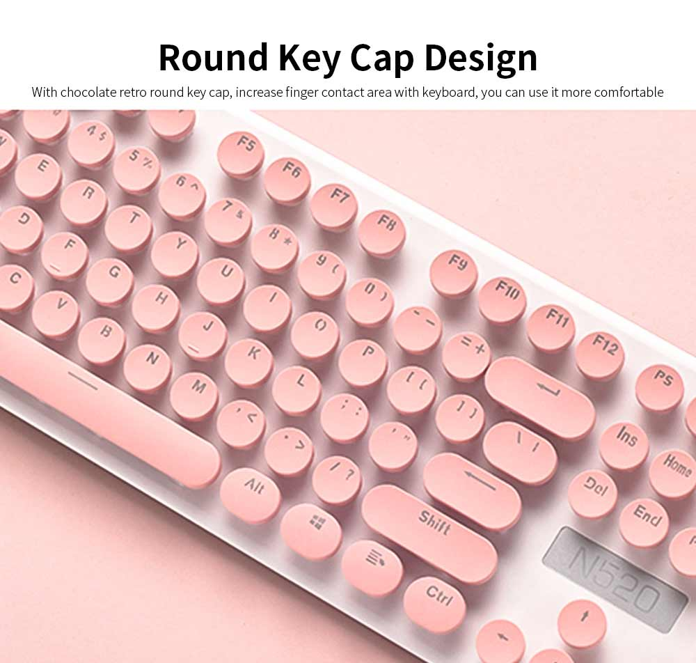 Punk Wireless Mechanical Keyboard and Mouse Set for Office Girl Women Computer 3