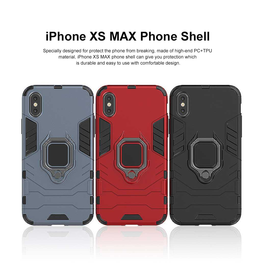 Black Panther Phone Case with Ring on Back, iPhone XS MAX Anti-fall Phone Shell 9