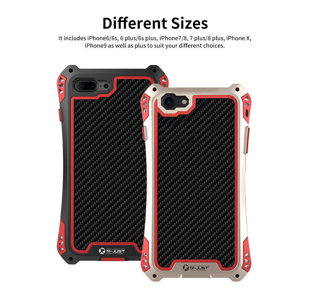 Zinc Alloy Phone Case Cover with Cushioning Soft Layer, Carbon Fiber and Tempered Glass for Different iPhone Type 5