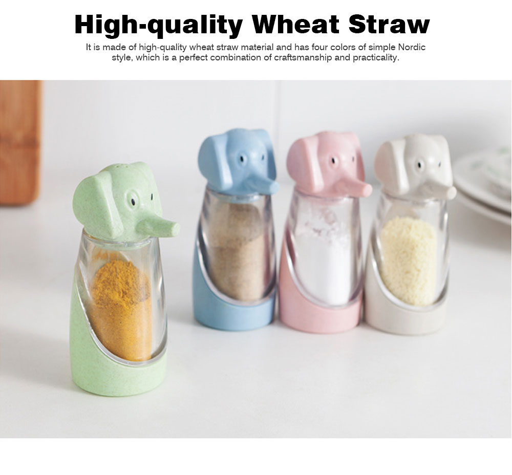 Elephant Seasoning Cruet for Baby, Wheat Straw Barbecue Pepper Condiment Bottle, 90g 3