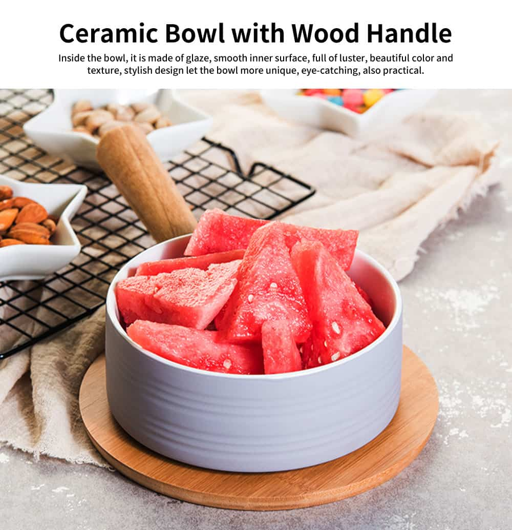 Japanese Style Ceramic Bowl with Wood Handle, Stylish Porcelain Serving Bowl for Milk, Fruit, Salad 0
