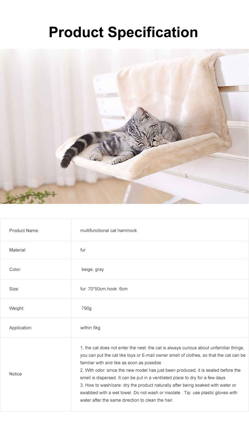 Multifunctional Cat Hammock with Support, Portable & Removable Cat Mat Hanging Chair 6