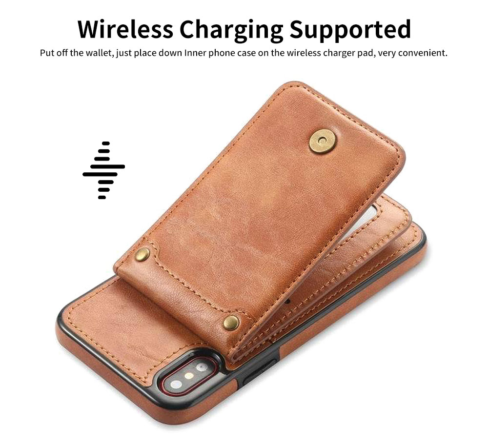 Detachable Leather Wallet Case for iPhone 7/8 Plus, iPhone X, High Quality Two-in-one Phone Case 2