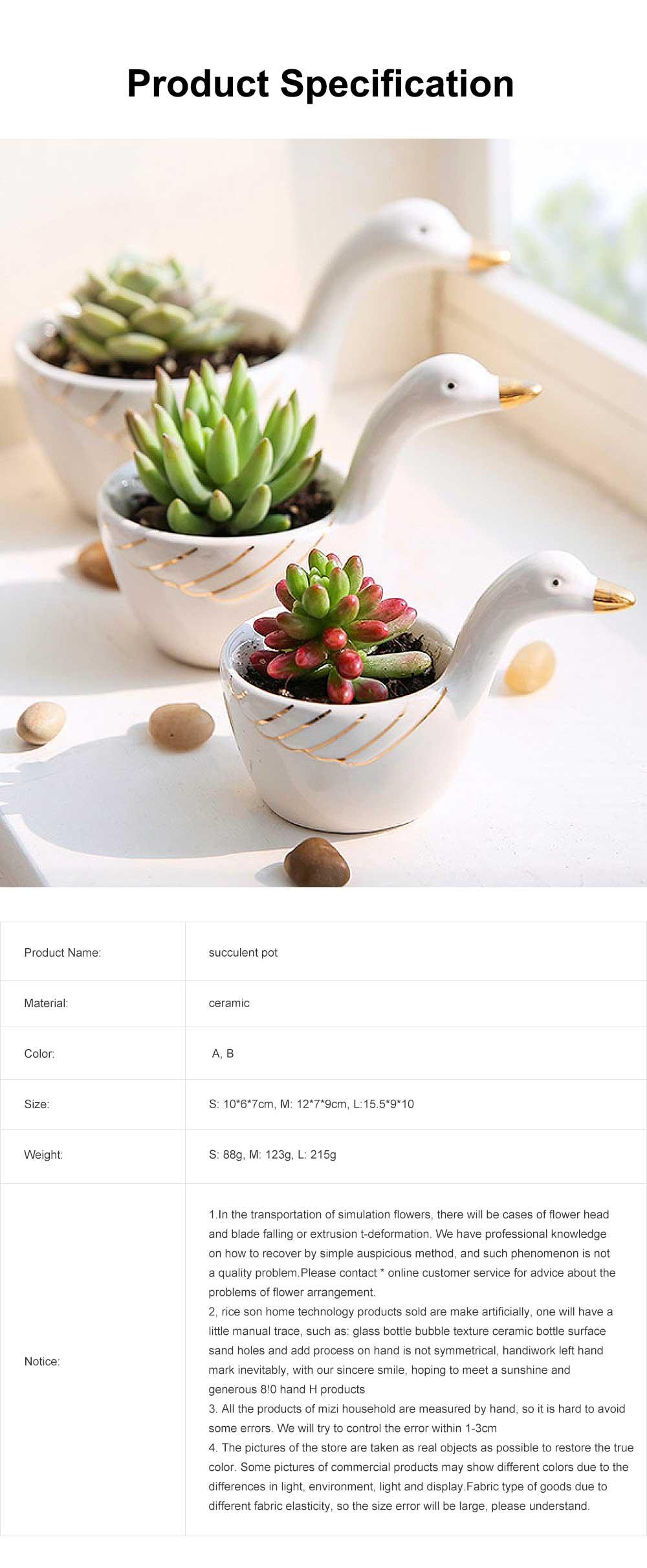Ceramic Succulent Plant Pots With Swan Shape, Creative Succulent Green Plant Small Pot 5