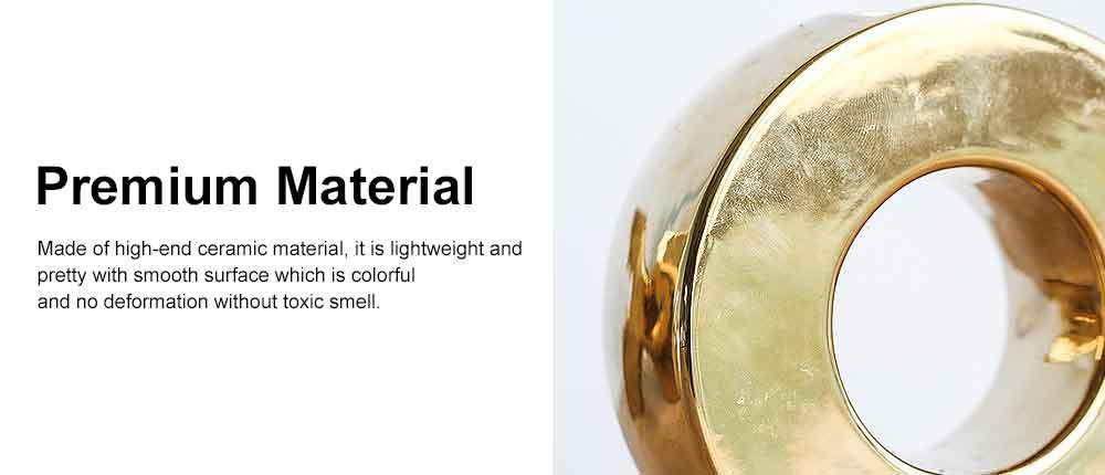 Gold Ceramic Vase with OK Shape & Non-slip Bottom, Electric Paint Spraying Vase 1