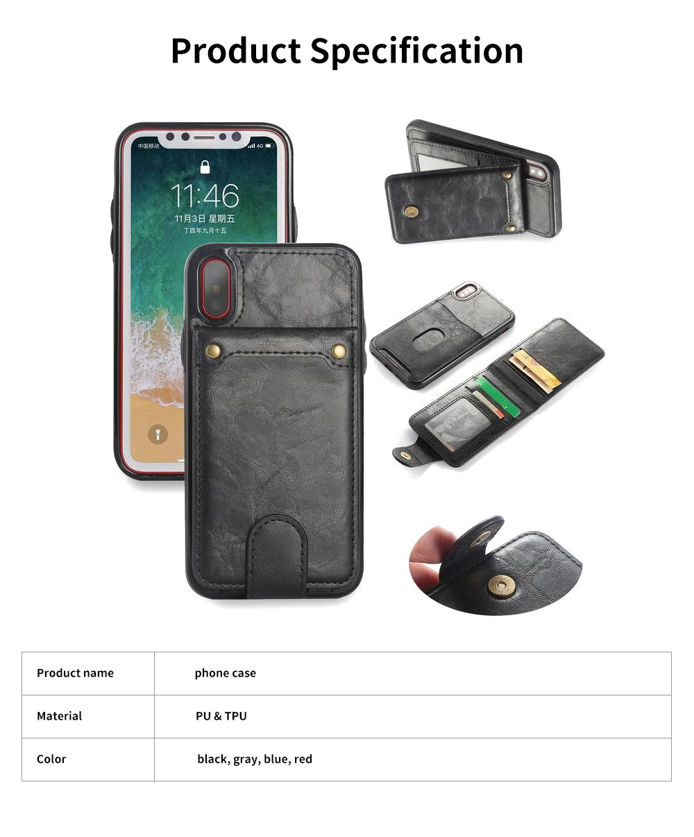 Detachable Leather Wallet Case for iPhone 7/8 Plus, iPhone X, High Quality Two-in-one Phone Case 5
