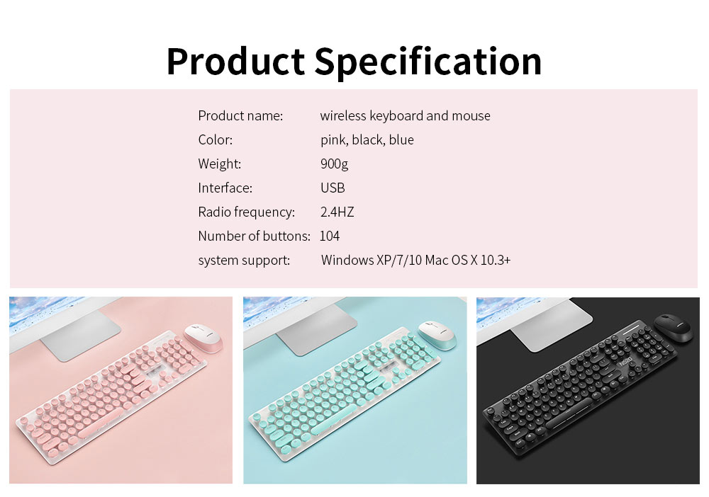 Punk Wireless Mechanical Keyboard and Mouse Set for Office Girl Women Computer 7