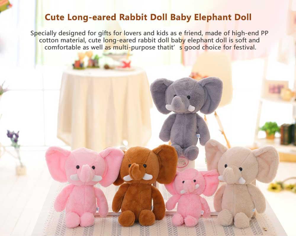 Elephant Stuffed Animal for Baby, Cute Rabbit Doll with Long Ears  0