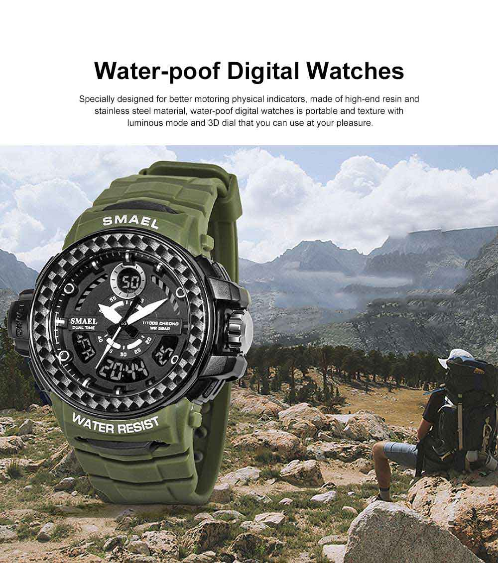 Digital Watches with Resin Strap Multifunctional Watch Supporting Luminous Mode 50 Meters Water-poof & Alarm Clock 0