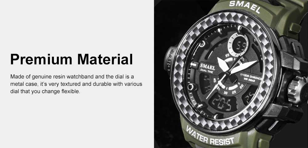 Digital Watches with Resin Strap Multifunctional Watch Supporting Luminous Mode 50 Meters Water-poof & Alarm Clock 1