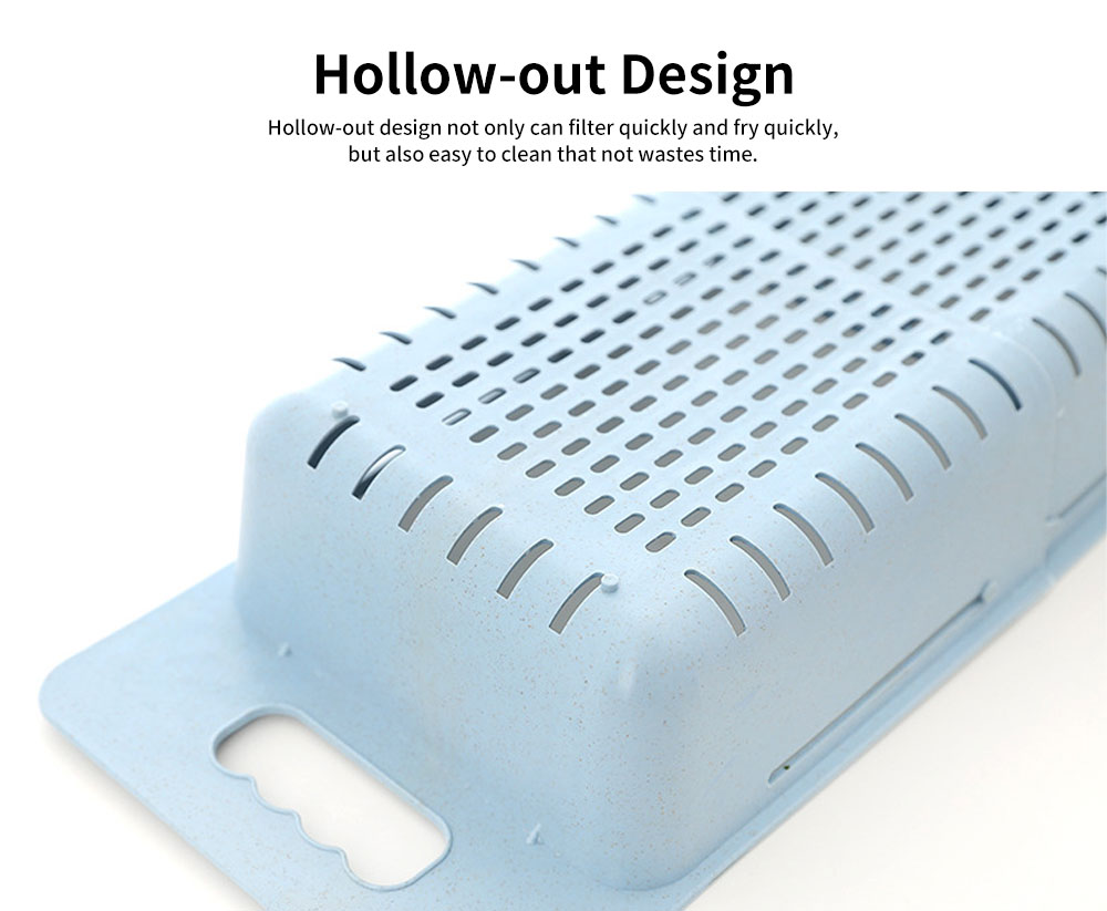 Scalable Drain Basket, Wheat Straw Hollow-out Fruit Basket 3