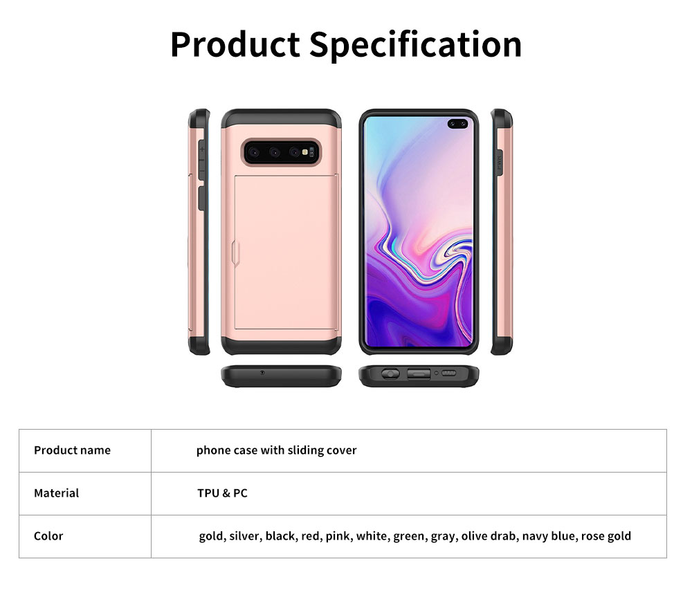 Protective Hard Shell for Samsung Galaxy S10, Phone Case Wallet Credit Card Holder with Sliding Door 6