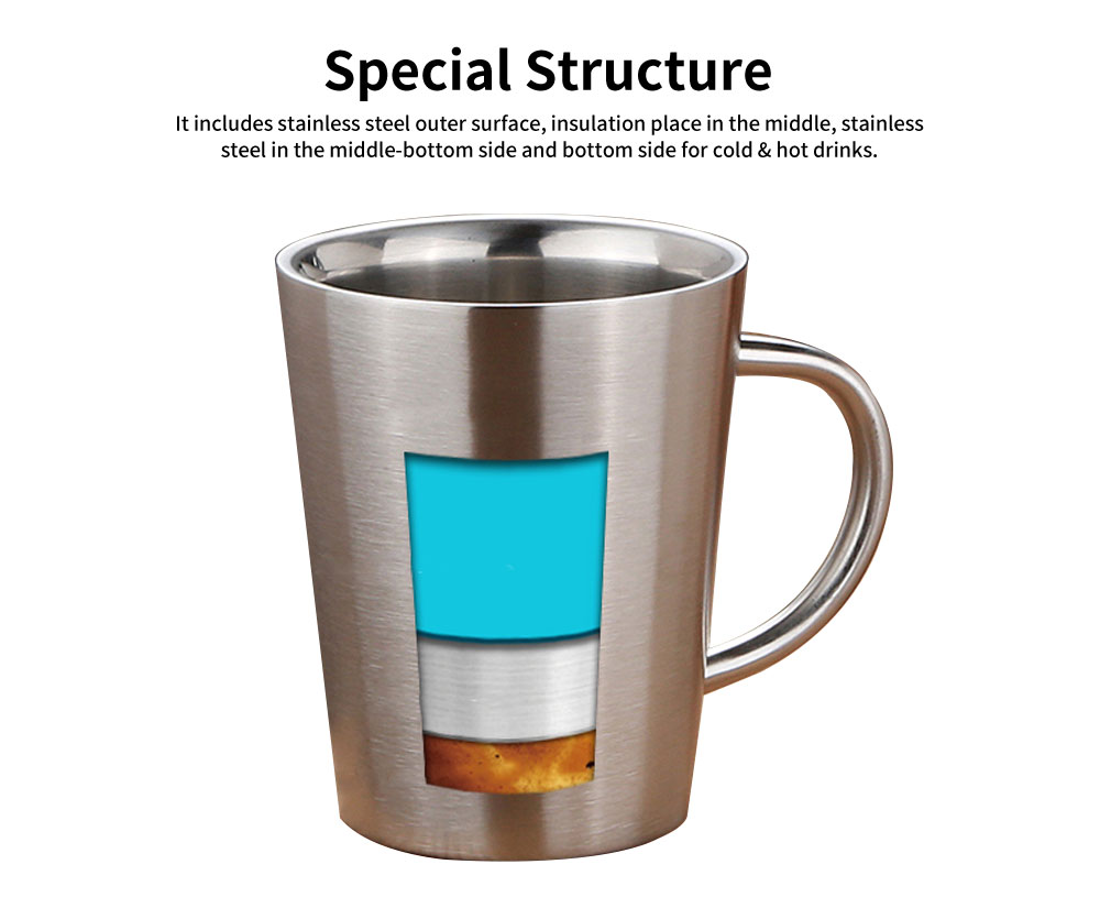 European Style Stainless Steel Mug with Double heat Insulation, Stylish Cup for Beer, Coffee, Milk, Cold Juice 1