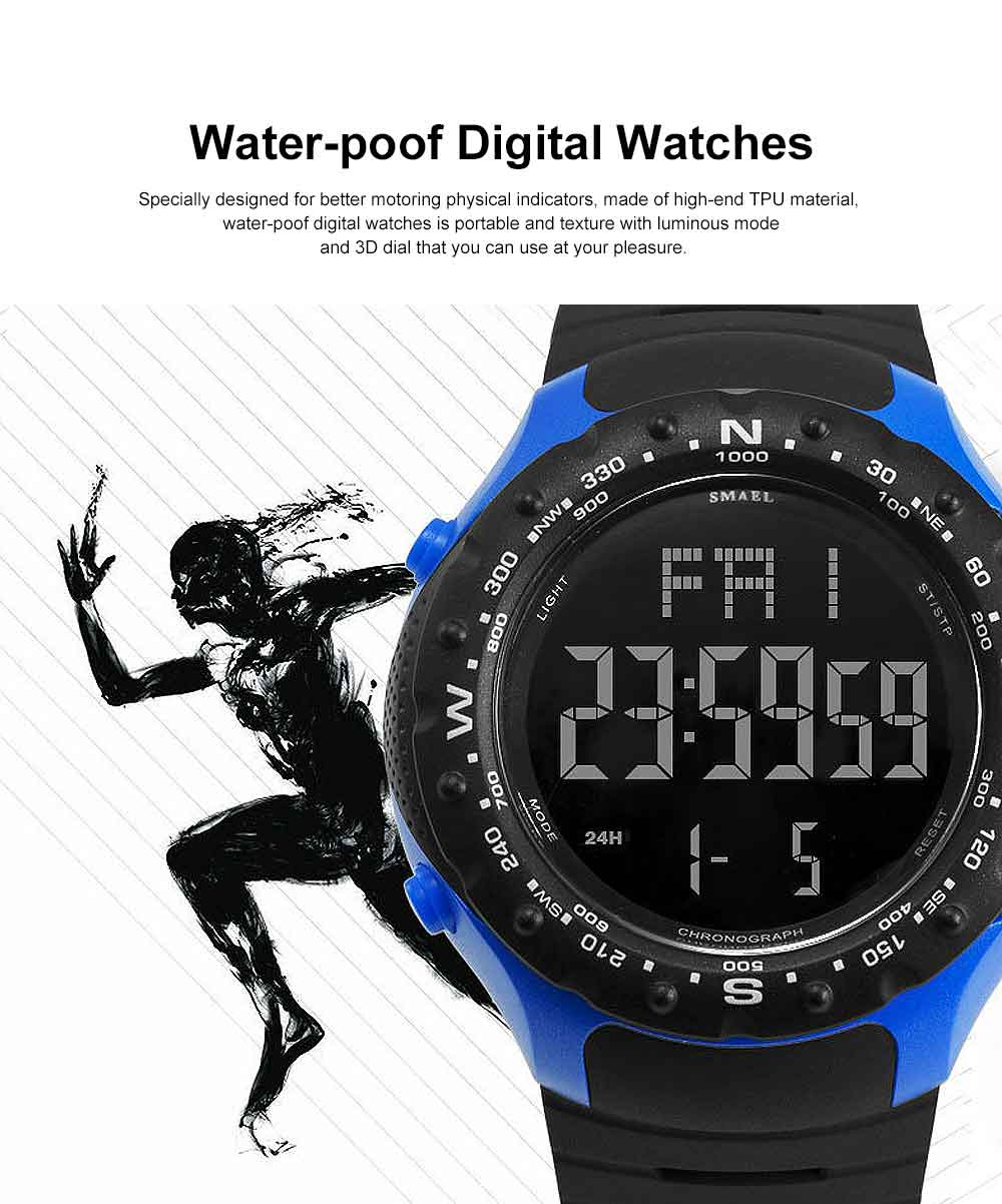 Multifunctional Water-poof Digital Watches, Smart Electronic Watch with TPU Strap 0