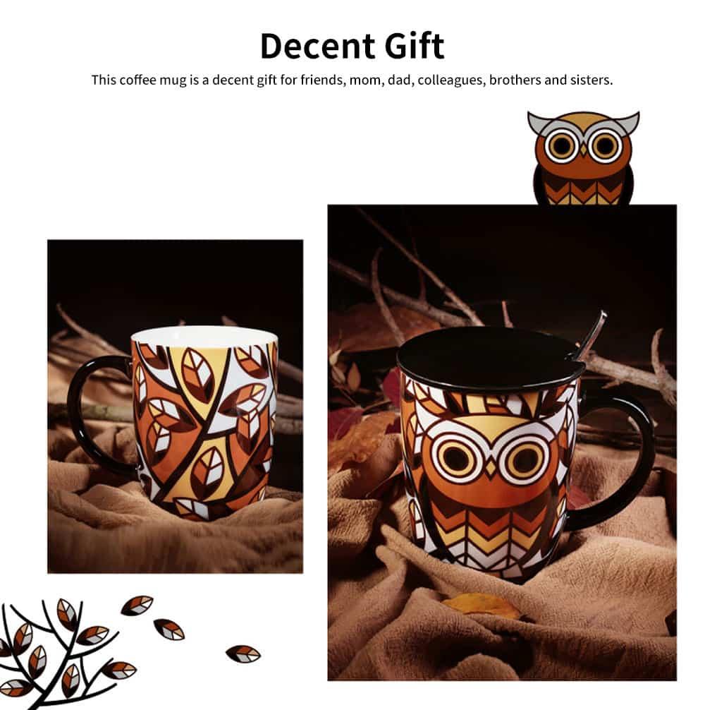 Animal Print Mugs, High Capacity Ceramic Tea Mug With Spoon 5