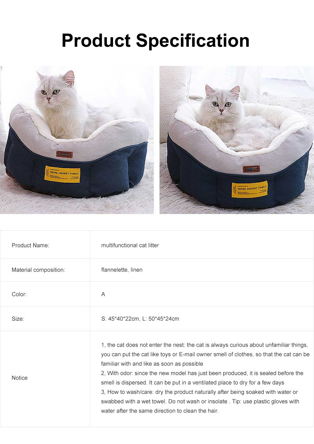 Cat Beds For Indoor Cats Washable, Multifunctional Cat Litter With  6