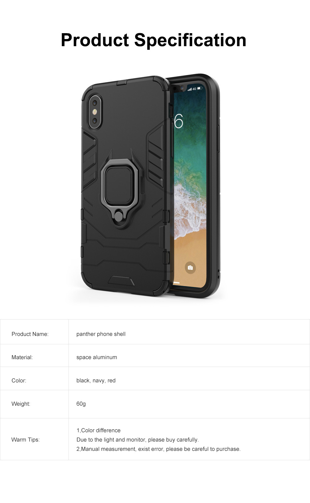 Black Panther Phone Case with Ring on Back, iPhone XS MAX Anti-fall Phone Shell 6