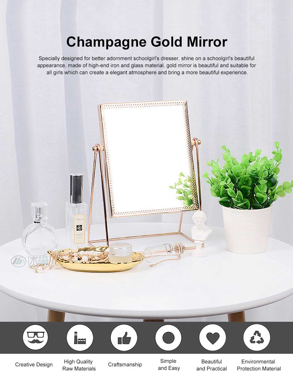 Champagne Gold Mirror with Copper Frame & Flocking Back, Elegant & Vintage Vanity Smooth Mirror 0