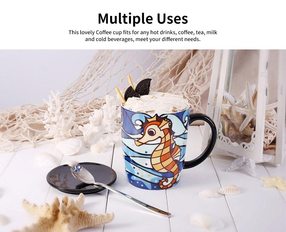Animal Print Mugs, High Capacity Ceramic Tea Mug With Spoon 4