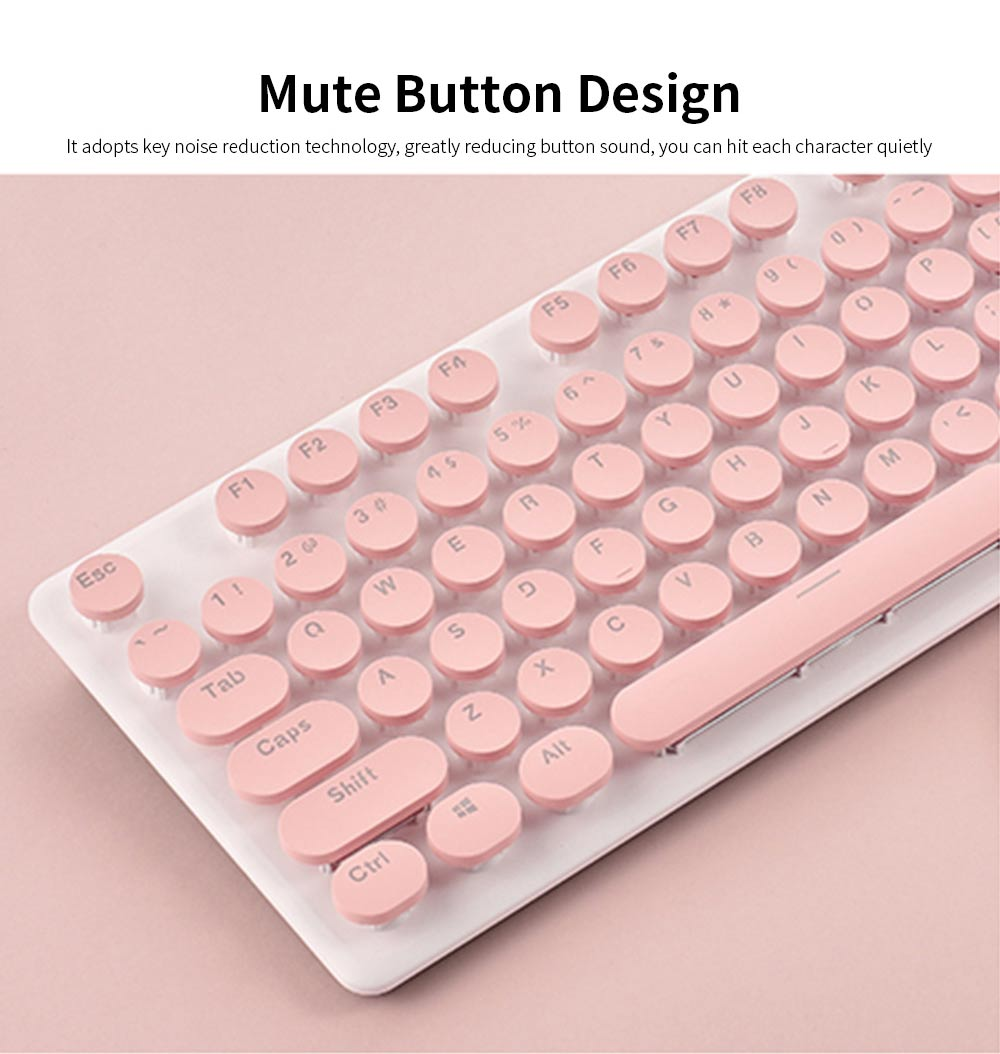 Punk Wireless Mechanical Keyboard and Mouse Set for Office Girl Women Computer 4