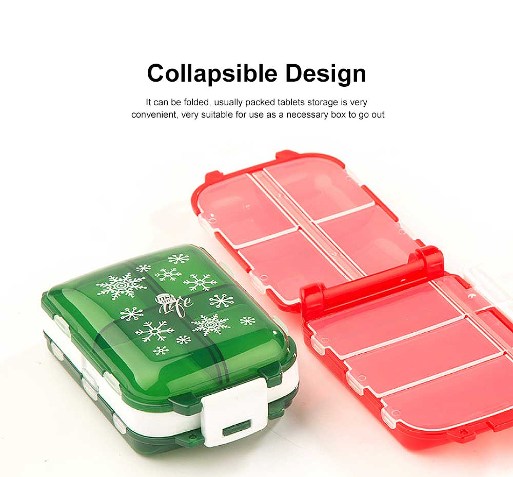 Christmas Pill Boxes, 3-Layer 8-Grid Mini Weekly Pill Case, Pack of 2 2