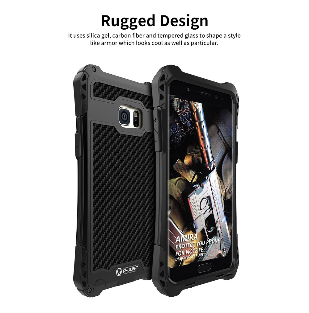 Chinese Style Zinc Alloy Phone Case, with Carbon Fiber and Tempered Glass for Galaxy Note FE 11