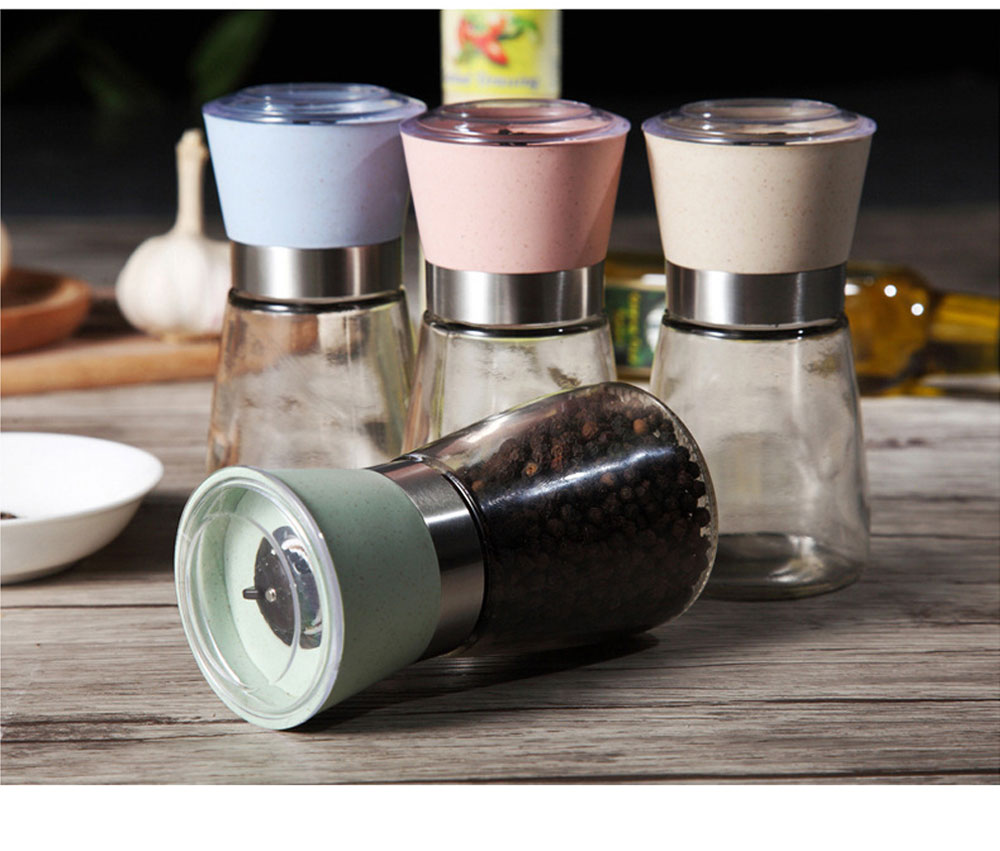 Manual Pepper Grinder, Glass Pepper Mill Seasoning Bottle with Ceramic Grinding Core 7