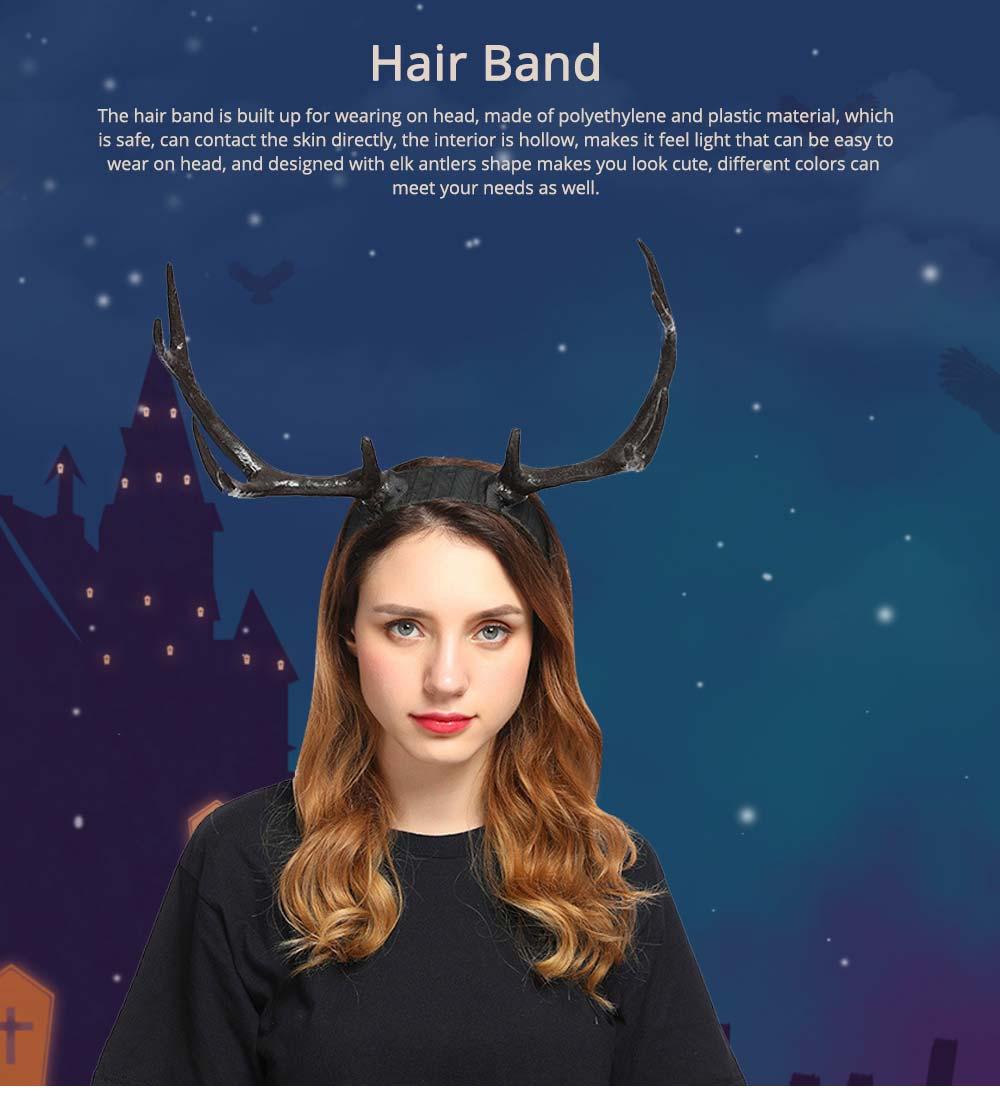 Elk Antlers Hair Band Head Hoop for Birthday Anniversary Cartoon Polyethylene Plastic Lovable Head-wear 0