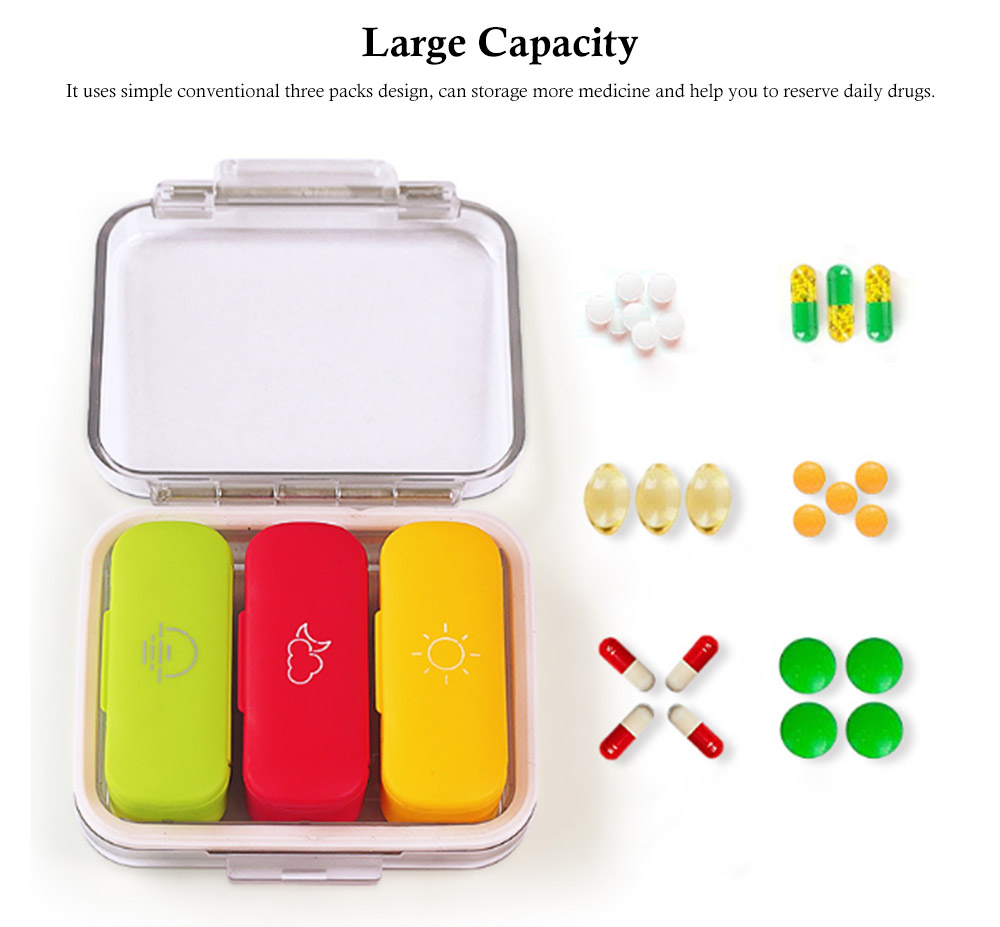 Daily Pill Organizer 3 Times A Day, With 3 Removable Inner Silicone Tablet Medicine Storage Box 5