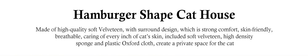 Hamburger Shape Cat House, with Soft Velveteen and PP Cotton Material, Skin-friendly Cat's Cattery 0