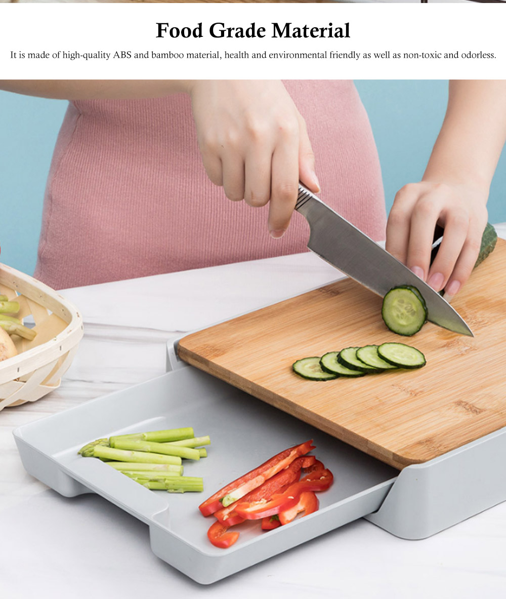 Pull-down Cutting Board, with Drawer Design, Food Grade ABS and Bamboo Material, Multifunctional Storage Board 5