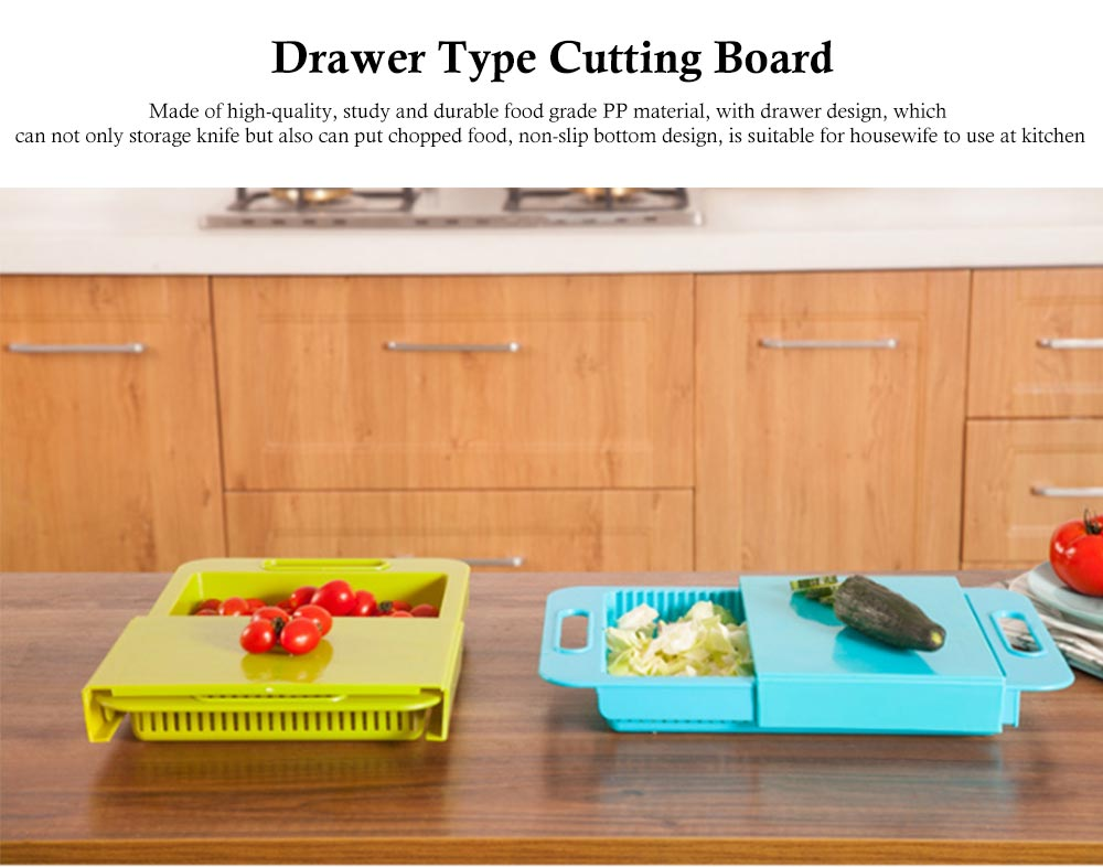 Drawer Type Cutting Board, Slide Out Kitchen Cutting Board With Study And Durable Food Grade PP Material 0