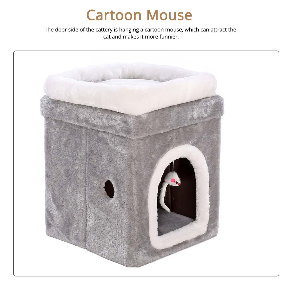 Cat House Fur Material Cube for Pet Cat Home with Attract Mouse, Folding Cattery Double Layers Cat Nest 3