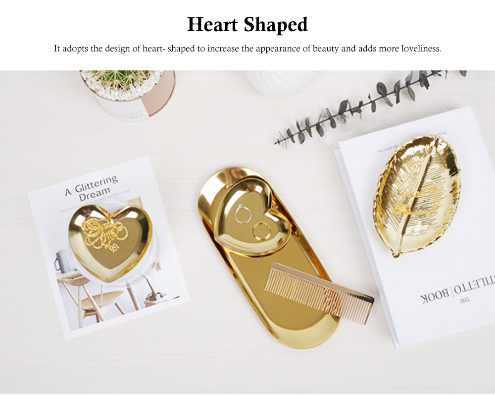 Stainless Steel Jewelry Display Tray, Heart-shaped Metal Jewelry Storage Tray 2