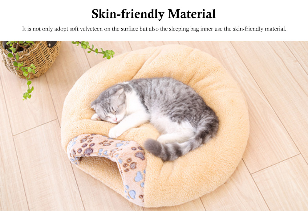 Brown Cat Sleeping Bag, with Soft Velveteen, Printed Coral Fleece, Three-dimensional PP Cotton, a Nest of Two Uses, Cat Mat 4