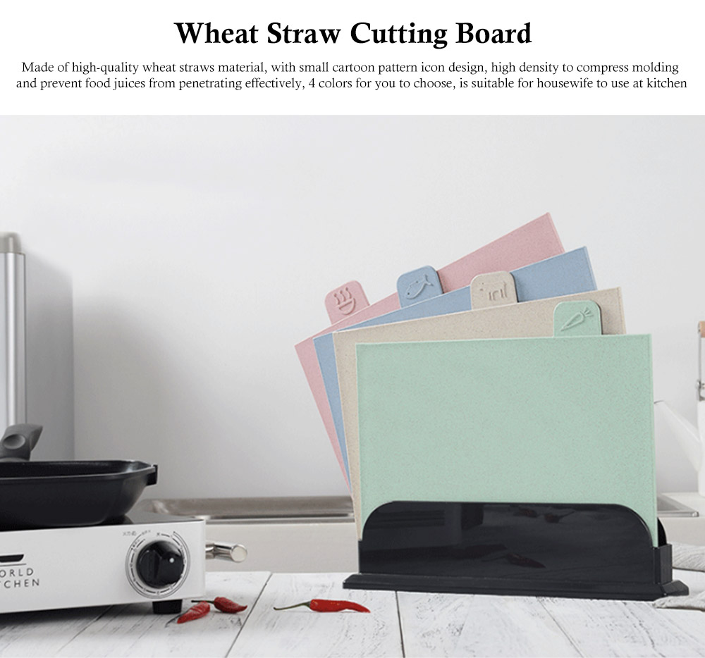 Environment Friendly Wheat Straw Cutting Board, 4 colors a Suit, with Small Cartoon Pattern Icon Design 0