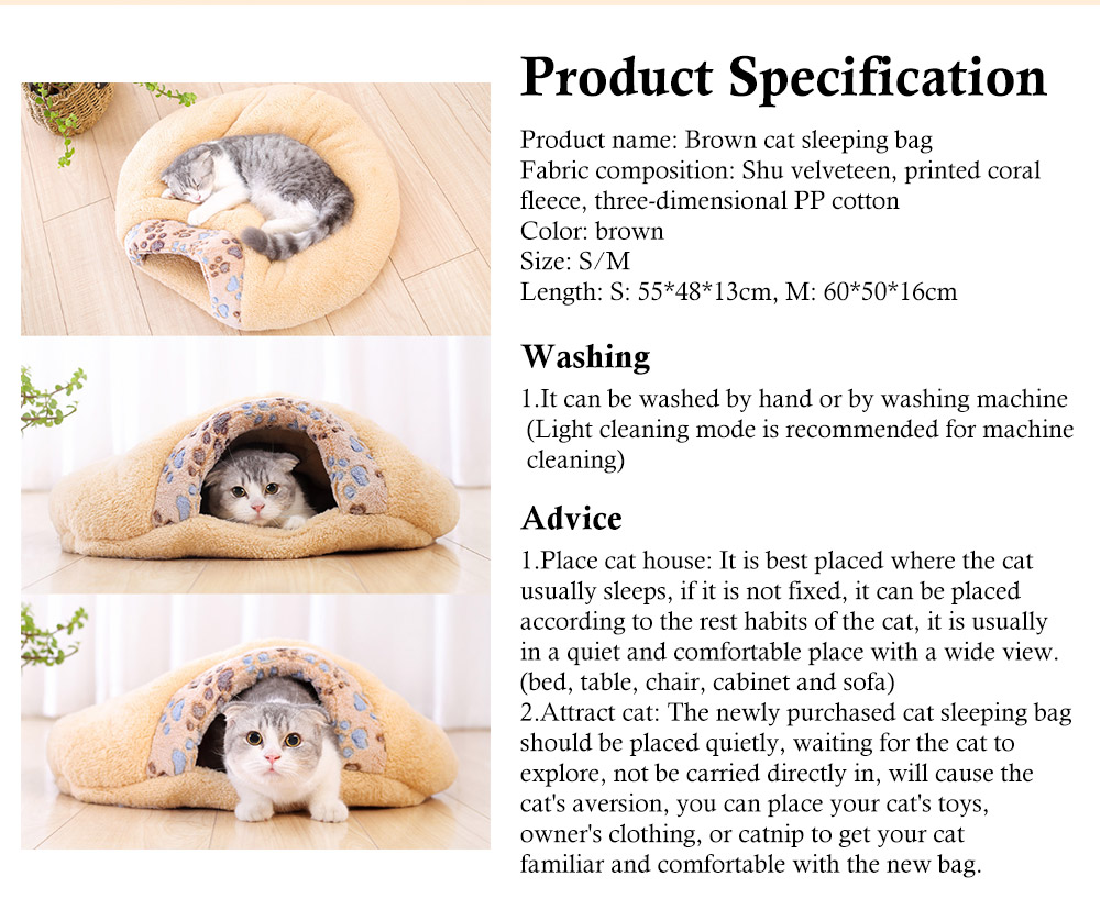 Brown Cat Sleeping Bag, with Soft Velveteen, Printed Coral Fleece, Three-dimensional PP Cotton, a Nest of Two Uses, Cat Mat 8