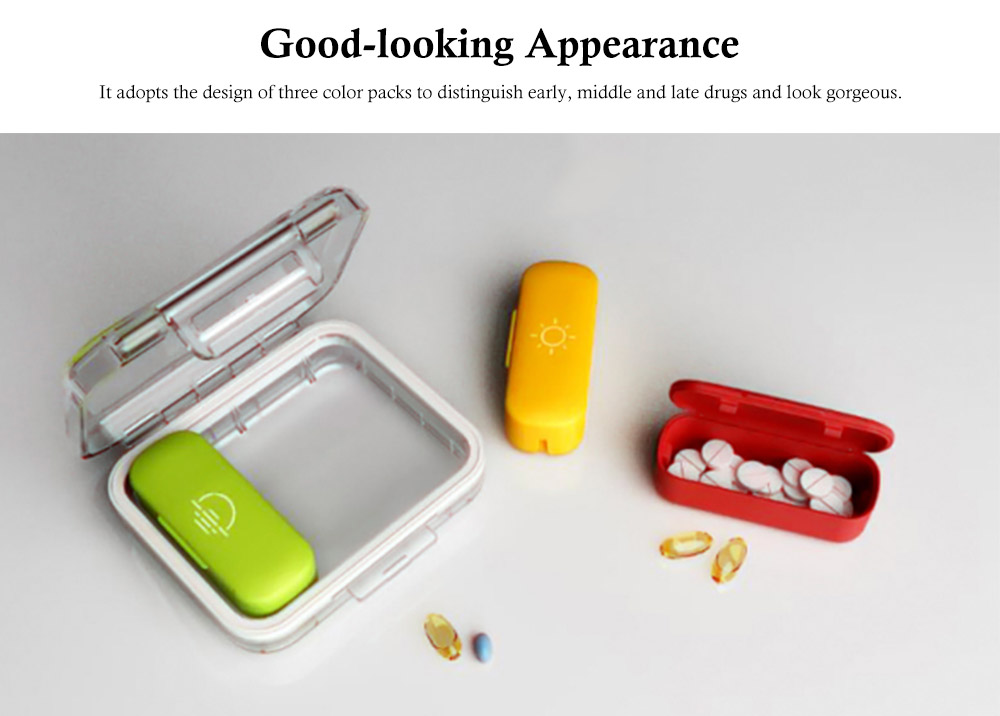 Daily Pill Organizer 3 Times A Day, With 3 Removable Inner Silicone Tablet Medicine Storage Box 1